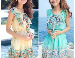 New Arrival Women Floral Summer Chiffon Dress Mini Beach Dress Princess Dress Green Beige Cndirect bester Fashion-Online-Shop China