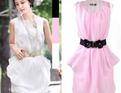 New Elegant Women's Solid Color Chiffon Dress Sleeveless Round Neck Summer Dress With Belt Cndirect bester Fashion-Online-Shop China