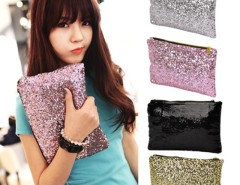 New Fashion Style Women's Sparkle Spangle Clutch Evening Bag Wallet Purse Handbag 3colors-Silver Cndirect bester Fashion-Online-Shop China