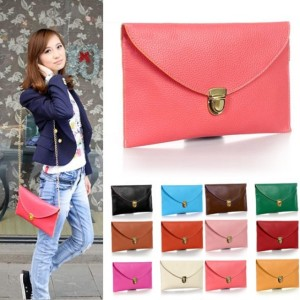 New Fashion Women's Golden Chain Envelope Purse Clutch Synthetic Leather Handbag Shoulder BagDinner Party Cndirect bester Fashion-Online-Shop China