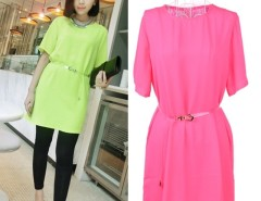 New Fashion Women's Short Sleeve Dress Chiffon Round Neck Casual Fluorescent Color Lace Splicing With Belt Cndirect bester Fashion-Online-Shop China