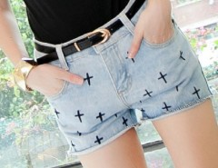 New Fashion Women's The Cross Pattern Jeans Shorts Denim Cut Off Hot Pants Casual Cndirect bester Fashion-Online-Shop China