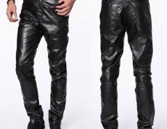 New HOT Mens Fashion Casual Slim Fit Skinny Faux Leather Jeans Trousers Pants Cndirect bester Fashion-Online-Shop China