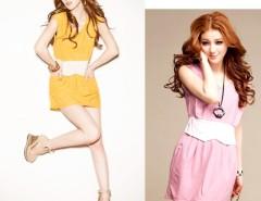 New Sexy Fashion Korea Ladies Women's Sweet False Girdle Two-Packet  Sleeveless Mini Vest Dress Yellow Pink Cndirect bester Fashion-Online-Shop China