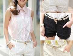 New Summer Fashion High Waist Front Zip Lace Crochet Black/White/Apricot Women Hot Pants Matching Shorts Cndirect bester Fashion-Online-Shop China
