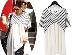 New Women's Fashion Casual Stripe Short Batwing Sleeve Loose Chiffon Blouse Tops Cndirect bester Fashion-Online-Shop China