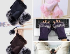 New Women's Rabbit Fur Hand Wrist Fingerless Gloves Warm Winter Cndirect bester Fashion-Online-Shop China
