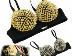New Women's Sexy Metallic Punk Spike Studs Rivet Underwire Bra B/ C CUP Party Club Wear Cndirect bester Fashion-Online-Shop China