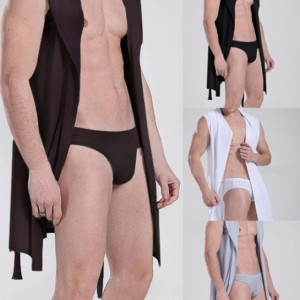 Free Shipping in US New Fashion Men Sexy Bathrobe Sleeveless Pajamas Hooded Robe Casual Sleepwear Bathrobe with Belt Cndirect bester Fashion-Online-Shop aus China