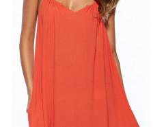 Orange Halter Cut Out Back Loose Dress Choies.com bester Fashion-Online-Shop Großbritannien Europa