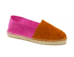 Orange and Fuchsia Suede Espadrilles - Orangine Carnet de Mode bester Fashion-Online-Shop