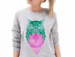Owl Printed Grey Cotton Sweatshirt Carnet de Mode bester Fashion-Online-Shop