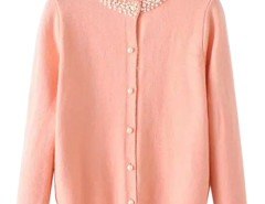 Pink Bead Embellished Neck Button Up Cardigan Choies.com bester Fashion-Online-Shop Großbritannien Europa