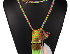 Pink Bead Fringe Leaf And Feather Pendant Multirow Necklace Choies.com bester Fashion-Online-Shop Großbritannien Europa