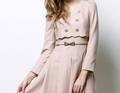 Pink Epaulet Scallop Trim Belted Waist Layered Skater Dress Choies.com bester Fashion-Online-Shop Großbritannien Europa