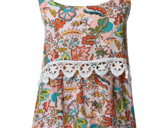 Pink Floral Print Crochet Lace Trim Cami Vest Choies.com bester Fashion-Online-Shop Großbritannien Europa