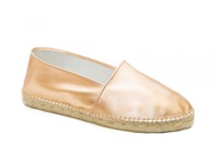 Pink Gold Leather Espadrilles - Saumon Carnet de Mode bester Fashion-Online-Shop