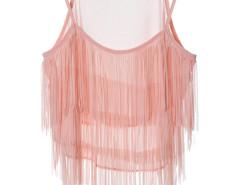 Pink Layer Tassel Transparent Cami Crop Vest Choies.com bester Fashion-Online-Shop Großbritannien Europa