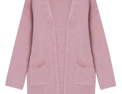 Pink Pocket Detail Long Sleeve Longline Knit Cardigan Choies.com bester Fashion-Online-Shop Großbritannien Europa