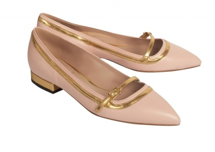 Pink Pointed Leather Ballet Flats With Contrasting Gold Borders Carnet de Mode bester Fashion-Online-Shop