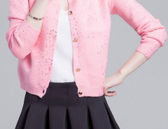 Pink Sequin Detail Button Up Long Sleeve Caidigan Choies.com bester Fashion-Online-Shop Großbritannien Europa