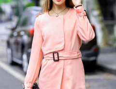Pink Single Breasted Belted Waist Slim Trench Coat Choies.com bester Fashion-Online-Shop Großbritannien Europa