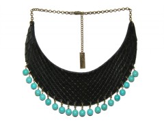 Plastron necklace - python & beads - turquoise Carnet de Mode bester Fashion-Online-Shop