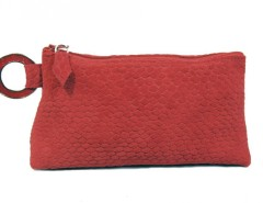 Printed Python Velvet Red Leather Clutch Carnet de Mode bester Fashion-Online-Shop
