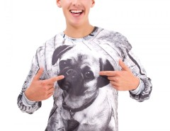 Pug Printed White Polyester Sweatshirt Carnet de Mode bester Fashion-Online-Shop