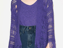 Purple Collarless Tassel Hem Knitted Cardigan And Vest Choies.com bester Fashion-Online-Shop Großbritannien Europa