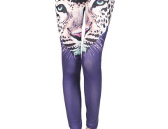 Purple Leopard Pattern High Waist Leggings Choies.com bester Fashion-Online-Shop Großbritannien Europa