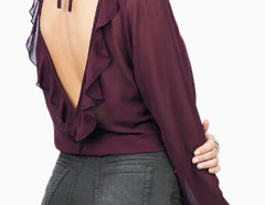 Purple V-neck Flounce Open Back Sheer Blouse Choies.com bester Fashion-Online-Shop Großbritannien Europa