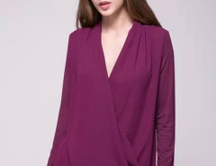 Purple Wrap Drape V-neck Long Sleeve Blouse Choies.com bester Fashion-Online-Shop Großbritannien Europa