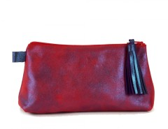 Purple/Red Metallic Suede Wallet With Leather Tassel Carnet de Mode bester Fashion-Online-Shop