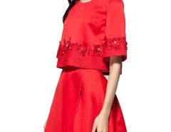 Red Bead Embellished Lace Floral Blouse And A-line Skirt Choies.com bester Fashion-Online-Shop Großbritannien Europa