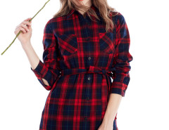 Red Contrast Plaid Print Belt Waist Longline Shirt Choies.com bester Fashion-Online-Shop Großbritannien Europa