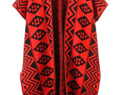 Red Geo Pattern Cap Sleeve Side Split Open Cardigan Choies.com bester Fashion-Online-Shop Großbritannien Europa