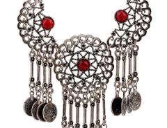 Red Half Moon And Sun Statement Drop Necklace Choies.com bester Fashion-Online-Shop Großbritannien Europa