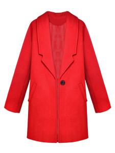Red Lapel Single Button Woolen Coat Choies.com bester Fashion-Online-Shop Großbritannien Europa