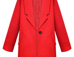 Red Lapel Single Button Woolen Coat Choies.com bester Fashion-Online-Shop Großbritannien Europa