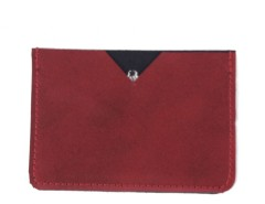 Red Metallic Suede Card-Holder Carnet de Mode bester Fashion-Online-Shop