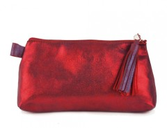 Red Metallic Suede Wallet With Leather Tassel Carnet de Mode bester Fashion-Online-Shop