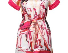 Red Morden Maidens Print Chain Belt Dress Choies.com bester Fashion-Online-Shop Großbritannien Europa