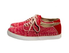 Red Printed Sneakers in Canvas - Robert Carnet de Mode bester Fashion-Online-Shop