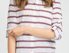 Red Stripe Roll Up Sleeve Pocket Shirt Choies.com bester Fashion-Online-Shop Großbritannien Europa