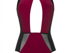 Red and Black Plunging One-Piece Swimsuit - Arielle Carnet de Mode bester Fashion-Online-Shop