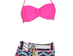Rose Halter Cupped Bikini Top And Geo Pattern High Waist Bottom Choies.com bester Fashion-Online-Shop Großbritannien Europa