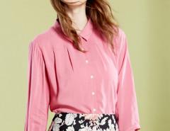 Rose Pleat Detail 3/4 Sleeve Plain Shirt Choies.com bester Fashion-Online-Shop Großbritannien Europa