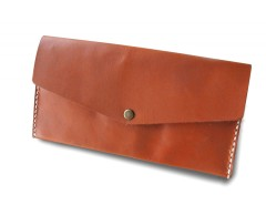Rust Leather Wallet with Long Zipper Carnet de Mode bester Fashion-Online-Shop