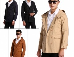 New Fashion Mens Fashion Casual Double Breasted Trench Slim Fit Long Hoodies Cndirect bester Fashion-Online-Shop aus China